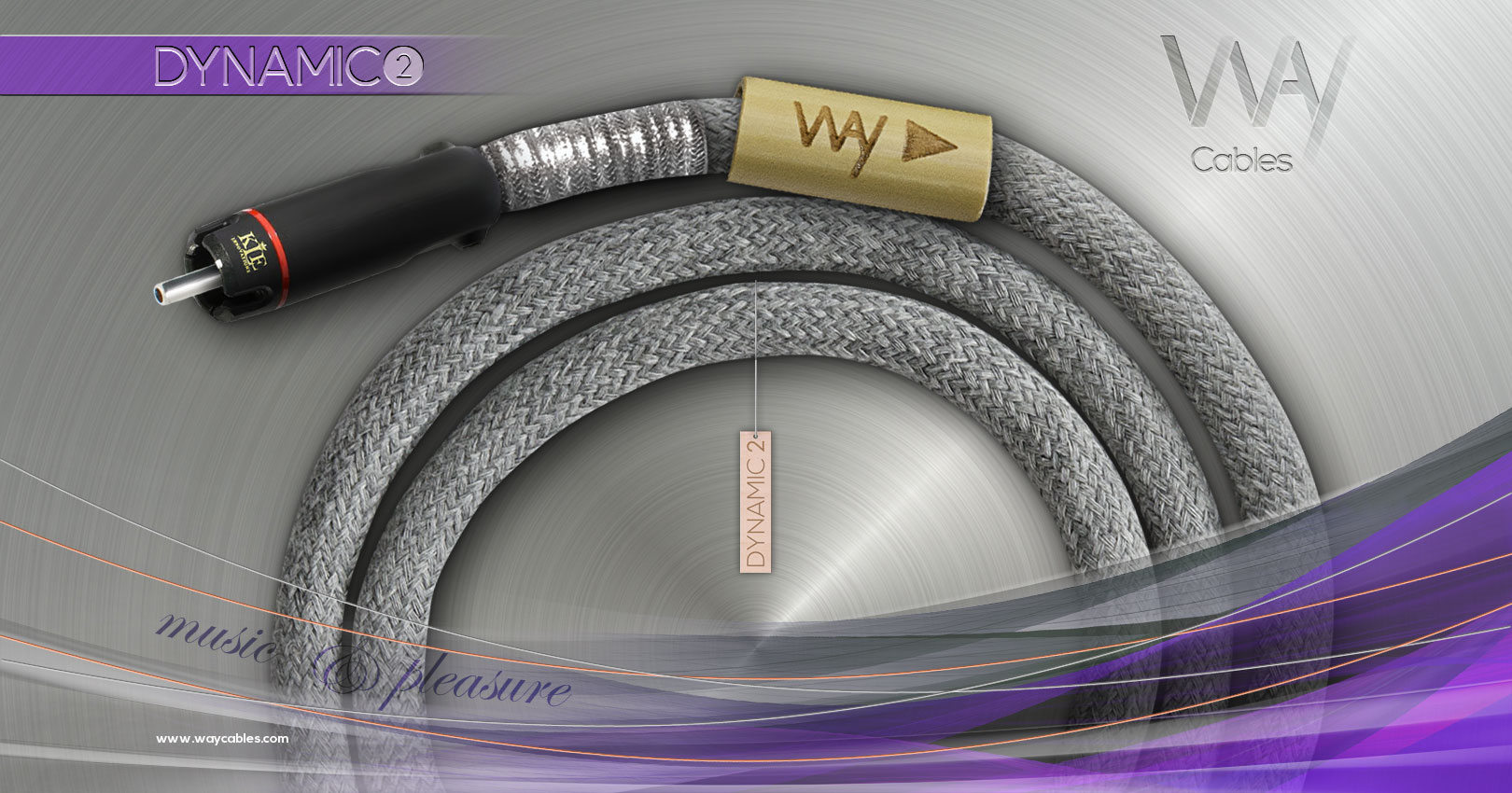 Way Cables DYNAMIC 2 interconnect - Gray cotton - KLEI Copper Harmony RCA plugs