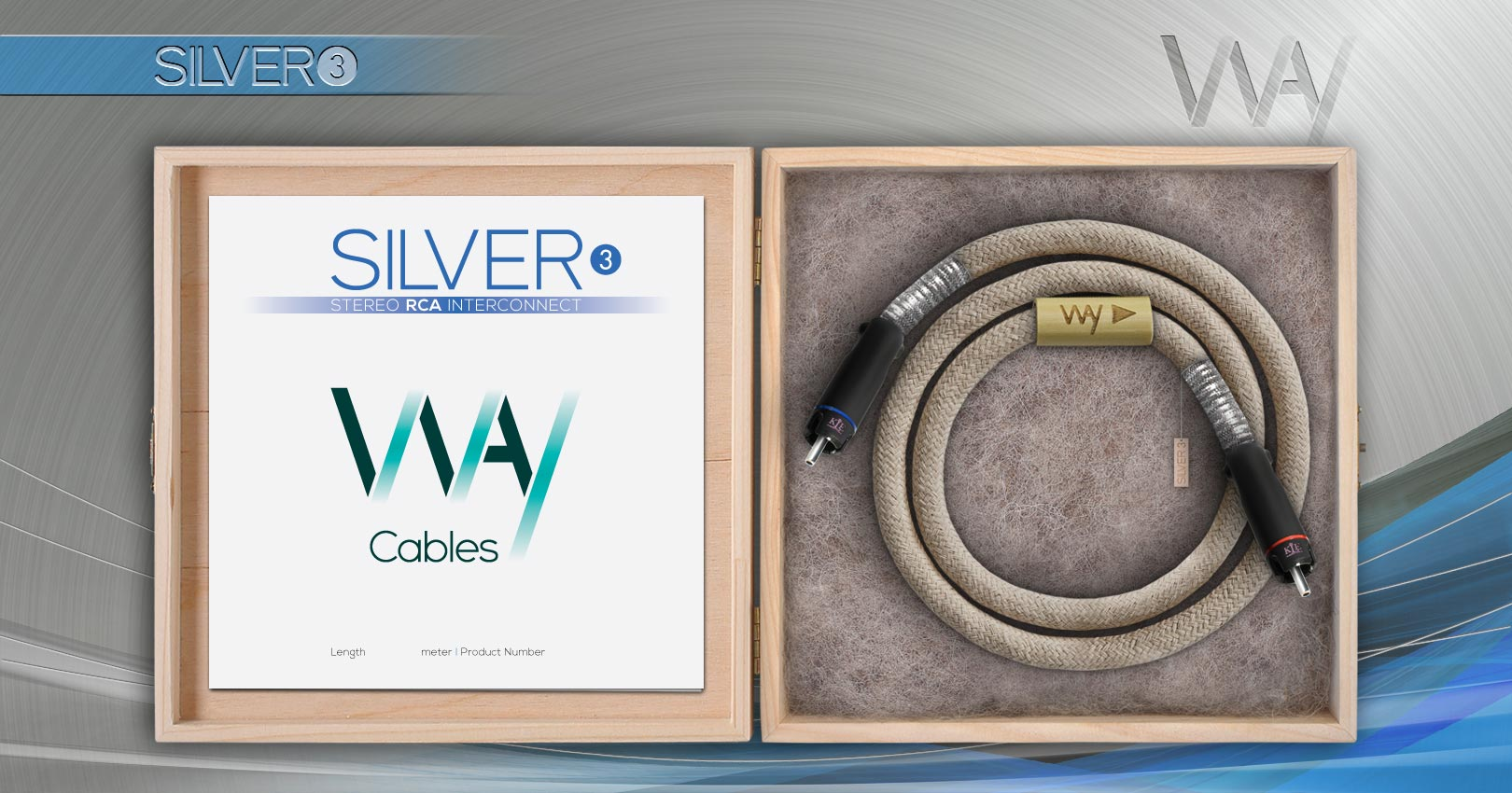 Way Cables SILVER 3 interconnect - beige cotton - KLEI Pure Harmony RCA plugs