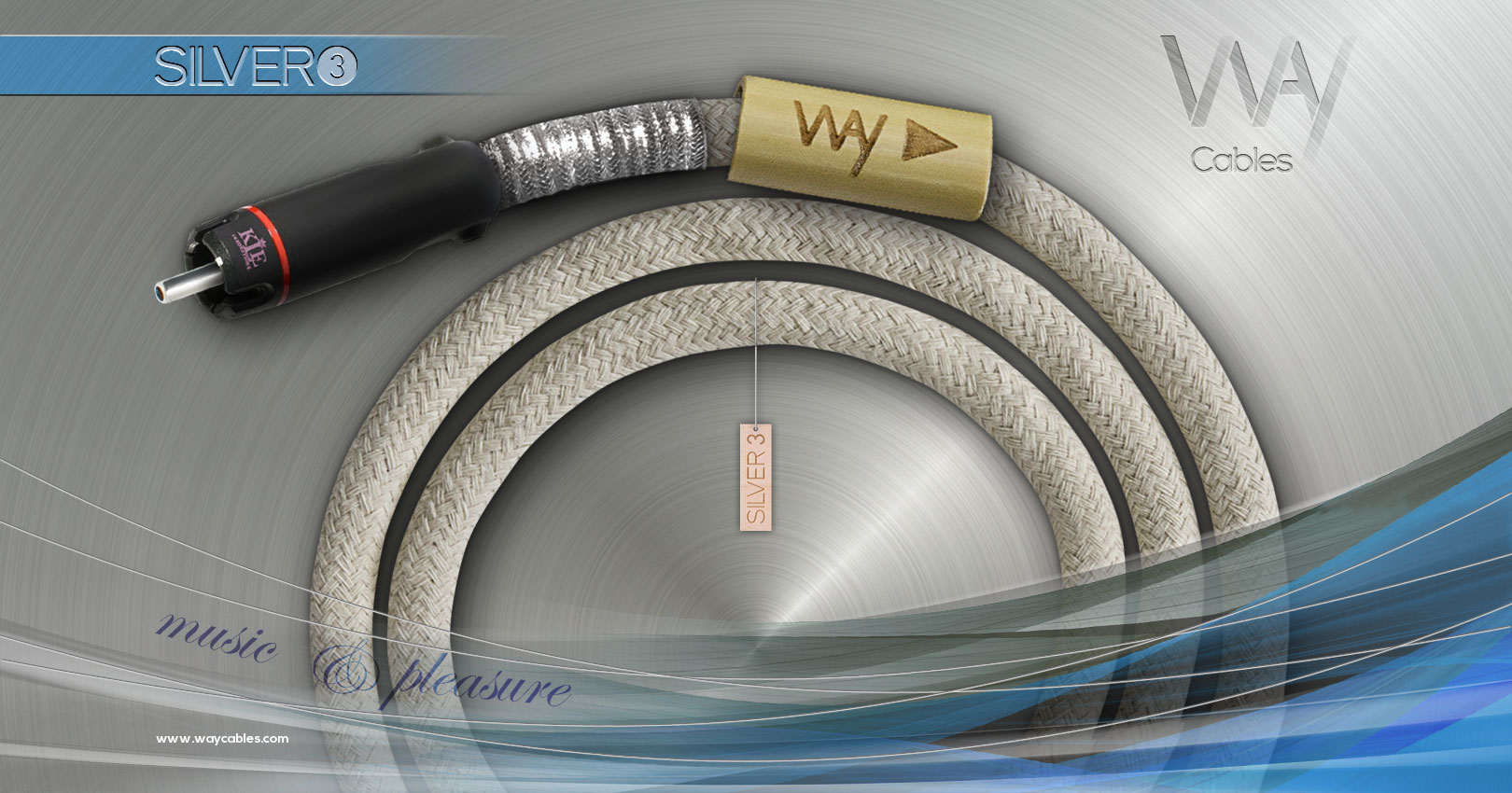 Way Cables SILVER 3 interconnect - White cotton - KLEI Pure Harmony RCA plugs